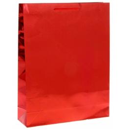 Пакет голография подарочный красный, размер ML (38*29*9 см)