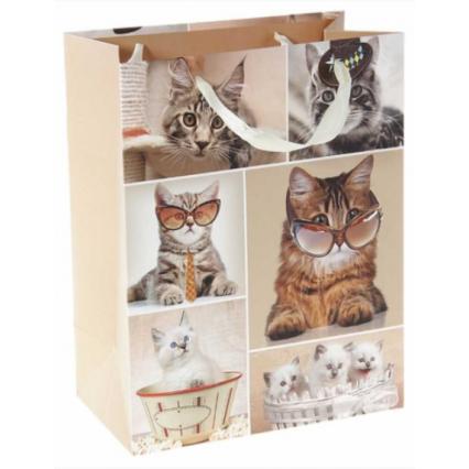 """Подарочный пакет """"Котята"""", размер ML (26*32*10 см)"""