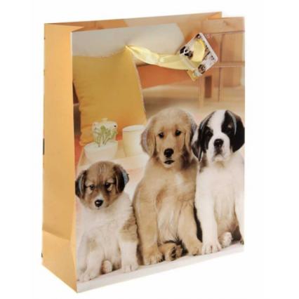 """Подарочный пакет """"Тройня. Щенки"""", размер ML (26*32*10 см)"""