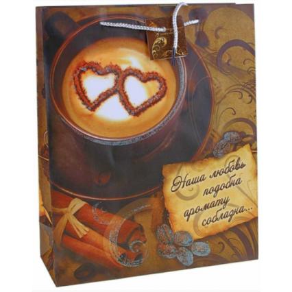 """Подарочный пакет """"Кофе"""", размер ML (26*32*10 см)"""