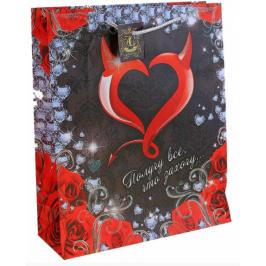 """Подарочный пакет """"Сердце"""", размер ML (26*32*10 см)"""