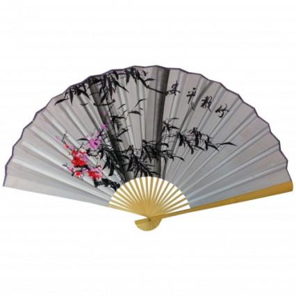 Веер на стену h=65 см Сакура и бамбук на сером