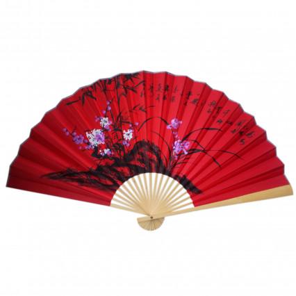 Веер на стену h=65 см Сакура и бамбук на красном
