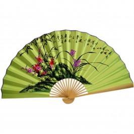 Веер на стену h=65 см Сакура и бамбук на зеленом