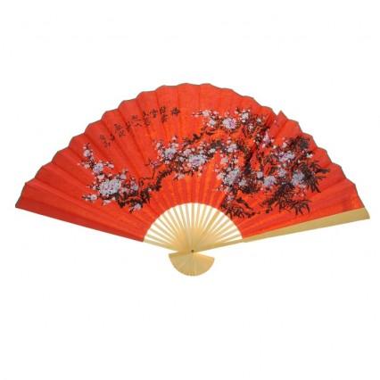 Веер на стену Сакура на красном, h=65 см
