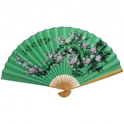 Веер на стену Сакура на зеленом, h=90 см