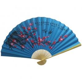 Веер настенный Красная сакура на синем, h=90 см