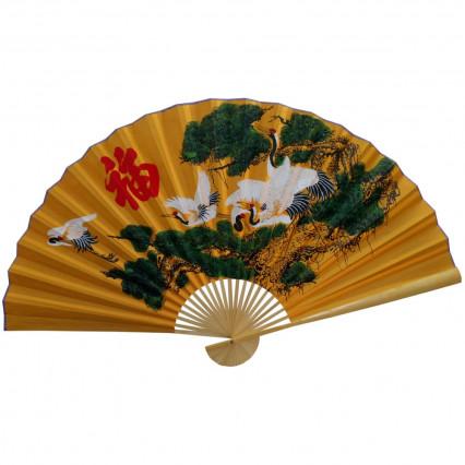 Веер настенный Журавли, бамбук, атласн., h=90 см