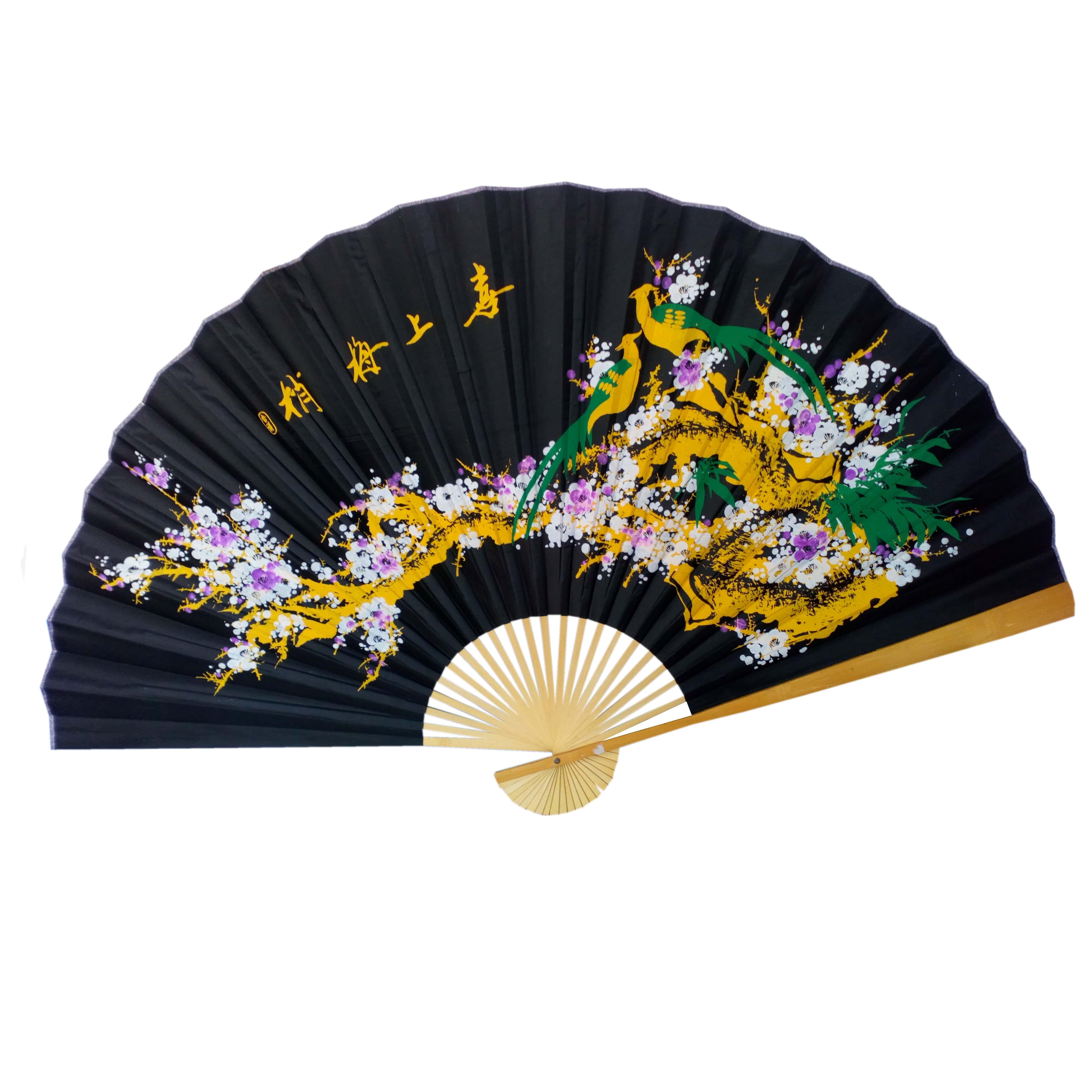Веер на стену Сакура на черном