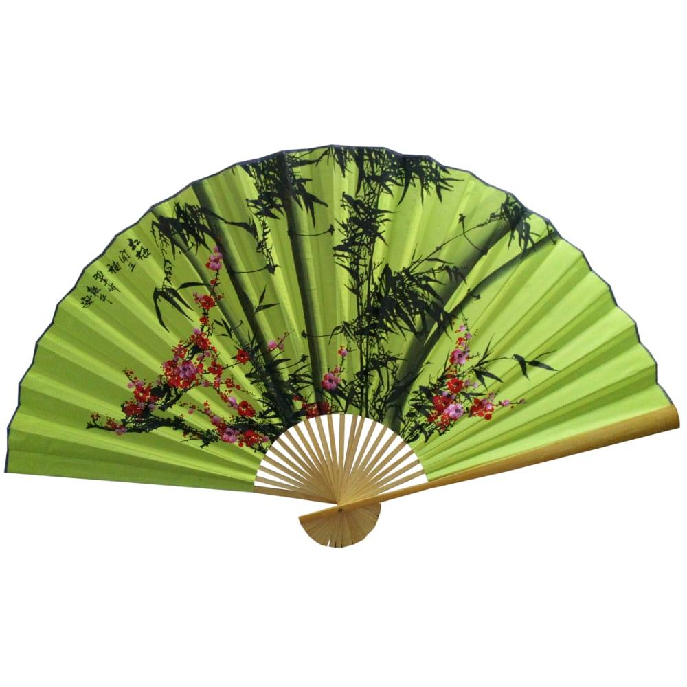 Веер на стену Бамбук на зеленом